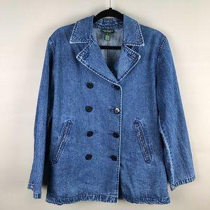 Lauren Jeans Co RL denim jean pea coat jacket